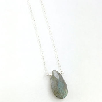 Labradorite Necklace, Teardrop necklace, Faceted, Dainty, Delicate, Sterling Silver, Bridesmaid Gift, Gemstone, Gem, Gray, Stone Necklace