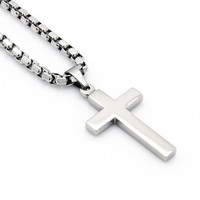 Mens Silver Stainless Steel 3.5mm Box Link Chain Necklace Cross Pendant