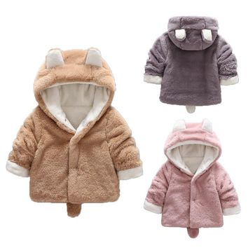 Baby Boy Gril Fleece Jackets Winter Hooded Coat For Infant Spring Autumn Newborn Outwear Cartoon Animal Toddler Outfit