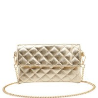 Quilted Metallic Cross-Body Clutch by Charlotte Russe - Gold