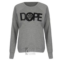 Jumper Top Womens Dope Diamond Print Fleece Sweatshirt Long Sleeve 6-12