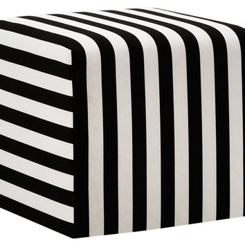 Baker Striped Pouf, Black/White, Ottomans