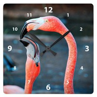 Cute, chic orange pink flamingo best friends photo square wall clock