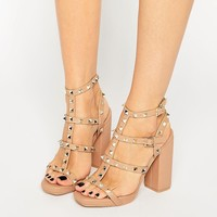 Missguided Studded Block Heel Sandal at asos.com