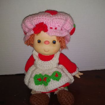 vintage strawberry shortcake crochet baby doll plush