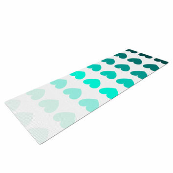 "NL Designs ""Teal Hearts"" Blue love Yoga Mat"