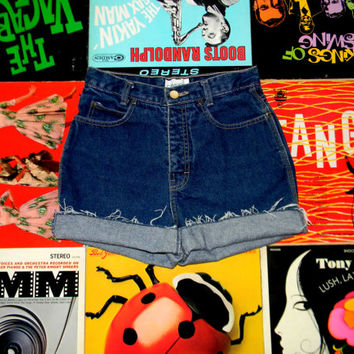 High Waisted Denim Shorts, Vintage 80s Dark Washed Jean Shorts w Contrast Stitching, Frayed Rolled Up CALVIN KLEIN Cut Offs Size 4 Small S