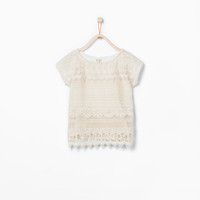 Crochet embroidered T-shirt