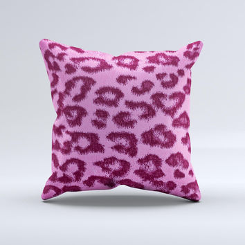 Neon Pink Cheetah Animal Print Ink-Fuzed Decorative Throw Pillow