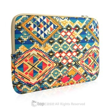 "Bohemian Style Canvas Fabric Laptop Sleeve Bag Case Cover for All 13"" 13-Inch Laptop Notebook / Macbook Pro / Unibody/Air/ Ultrabook / Chromebook"