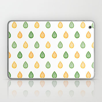 Yellow and green raindrops Laptop & iPad Skin by Savousepate