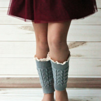 Kids Grey Knitted Leg Warmers with Lace Trim