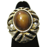Chunky Faux Tigers Eye Vintage Adjustable Ring