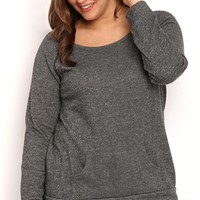 Plus Size Long Sleeve French Terry Raglan Top with Kanga Pocket