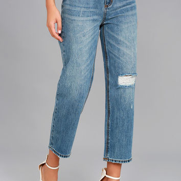 EVIDNT Malibu Medium Wash Distressed Girlfriend Jeans