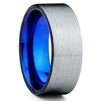 Blue Tungsten Ring - Black Wedding Band - Men's Wedding Band - 8mm