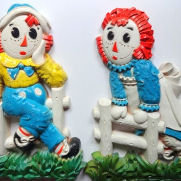 Vintage Set of Raggedy Ann and Andy Wall Hangings 1977