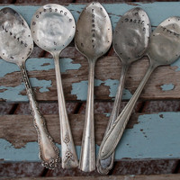 Set of 5 Herb Markers hand stamped Spoons by VintageGardenArt