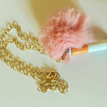 Fake Cigarette Butt and Pink Fur Pom Pom Gross Weird Harajuku Gold Chain Choker