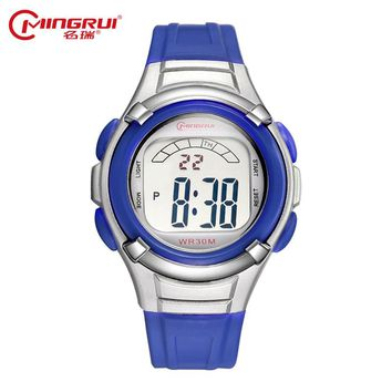 MINGRUI Children Girls Boys Waterproof Silicone Sport Watches Kids Fashion LED Digital Watch Students Luminous Watches Hour Gift