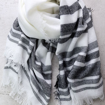 Soulmate White Striped Scarf
