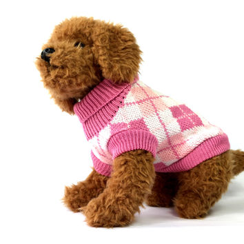 Pink and White Argyle Knit Dog Sweater