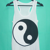 Sale Tops ying yang shirt Awesome Tanktops yin yang White tank top China shirt men women t shirt teen t shirt Size S M L XL