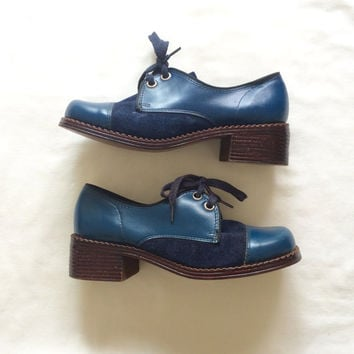 1960's Hush Puppies Shoes - Size 5.5 ~ Blue Leather + Suede ~ Deadstock ~ 60's Vintage