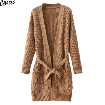 Women Thick Long Cardigan Khaki Belt Waist Chunky Knitted Open Front Sweater 2016 Autumn Dropped Shoulder Casual Knitwear
