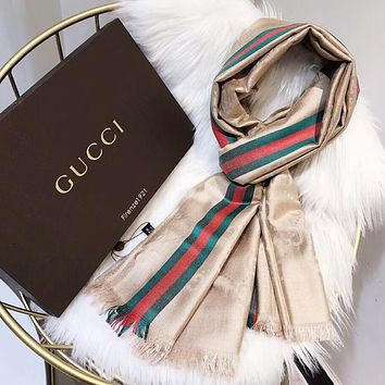 GUCCI New fashion stripe more letter silk scarf women