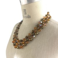 VINTAGE Triple Strand AURORA BOREALIS Amber Glass & Brass Necklace 1950's