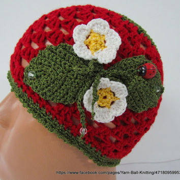 Crocheted Children's Hats, Girls Hat, With a Brim Hat Flowers, Spring hat, Brim Hat, Girls Strawberry Hat, Cloche Hat Girls