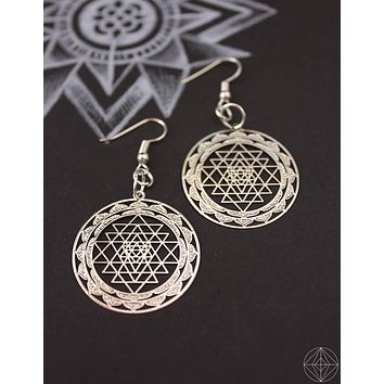 Sacred Geo Sri Yantra Silver Earrings