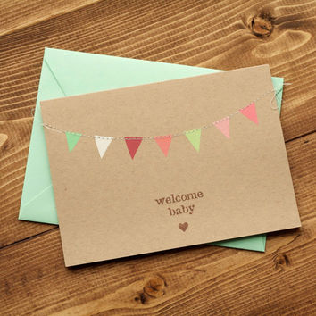 New Baby Card for Girl, Welcome Baby Girl Card, Congratulations Card, Pink and Mint Green Triangle Bunting Flags