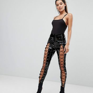 Missguided Londunn Vinyl Lace Up PANTS at asos.com