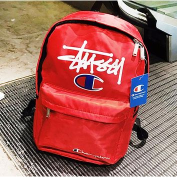 Champion & Stussy Fashion New Letter Print Leisure Backpack Bag School Bag Red