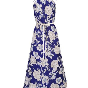 Streetstyle  Casual Band Collar Chiffon Maxi Dress In Floral Printed