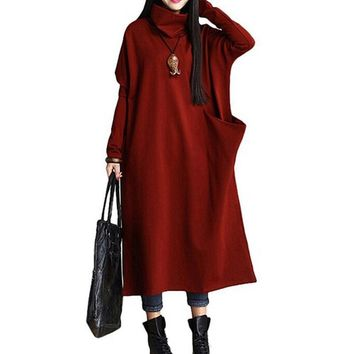 Women Winter Autumn ZANZEA L-5XL Plus Size Loose Trutleneck Long Sleeve Batwing Maxi Shirt Dress Kaftan Vintage Retro Vestido
