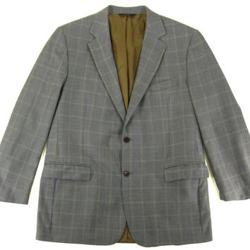 Vintage Brooks Brothers Grey Plaid Sport Coat - Blazer Jacket Wool Ivy League Menswear - Men's Size 46 Long L Extra Large XL