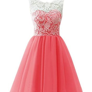 Coco Bridal Children Flower Girl Dress & Women's Short Tulle Prom Dress Dance Gown with Lace (10, Coral)