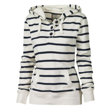 Black White Striped Hooded Pullover Sweatshirts