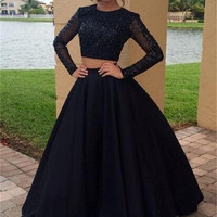 Gorgeous Long Two Pieces Prom Dresses 2017 Luxury Beaded O Neckline A Line Long Sleeves Formal Evening Party Dress