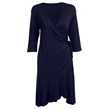 Sexy V-Neck Nine-Minute Sleeve Solid Color Women Plus Size Wrap Dress