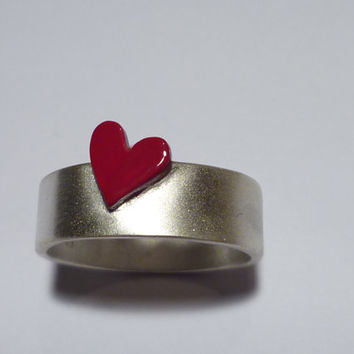 Ring.Sterling silver.Red colored mini heart set on the top of the band.Birthday gift.