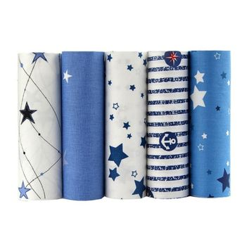 5pcs/lot Bule Tissue Twill Cotton Fabric Patchwork Cartoon DIY Sewing Quilting Material