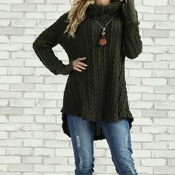 Olive Cowl Neck Tunic - Plus Too