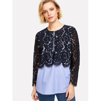 Scalloped Eyelash Lace Overlay 2 In 1 Top