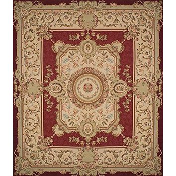 "Woven French Tapestry, 14'0"" x 16'0"" Wool Sumak, Cream, Dark Red"