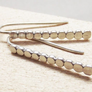 "Sterling Silver Long 1.25"" Artisan Minimalist Thin Bar Dot Post Dangle Everday Hook Earrings - Oh My Metals"