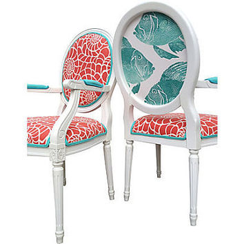 Nautical Seaside Beach Fish Coral Persimmon Aqua Teal Upholstered Painted French Louis XVII Bergere Arm Chairs Modern Shabby Chic